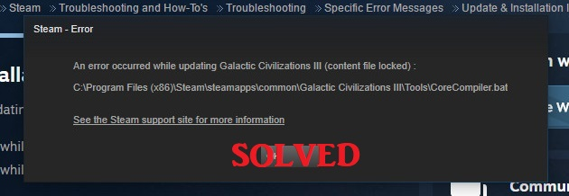 Steam Content File Locked Error