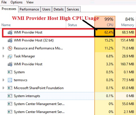 WMI Provider Host High CPU Usage WmiPrvSE.exe on Windows 10