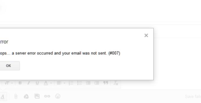 Gmail Error 007