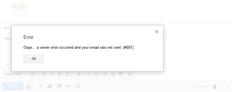 Gmail Error 007