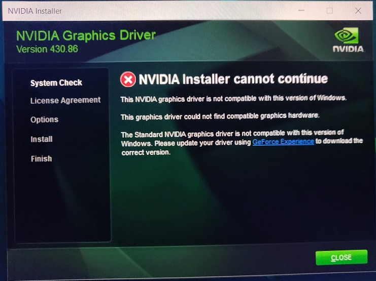 NVIDIA Installer Cannot Continue in Windows 10